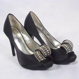 Audrey Brooke Black Satin Jeweled Front Heels